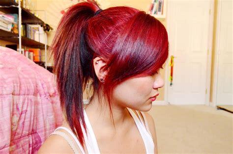 Lovely Dark Hair Rusty Pinkish Red Dip Dyed Ends Medium