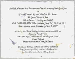 wedding room block wording mini bridal With wedding invitation insert hotel wording