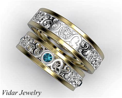 His And Her Two Tone Matching Wedding Band
