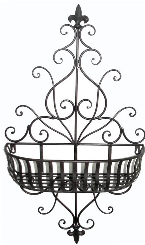 outdoor wall planters wrought iron tuscan wrought iron scrolling fleur de lis wall planter