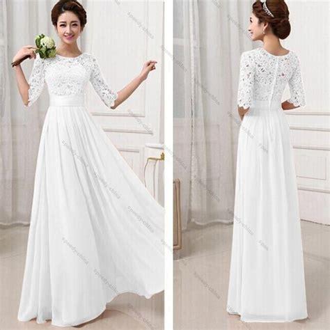 15 pakaian muslim wanita womens white lace dress formal evening wedding prom