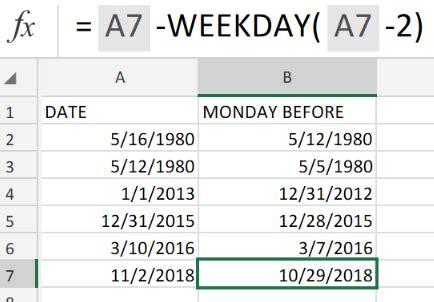 excel formula   monday   date