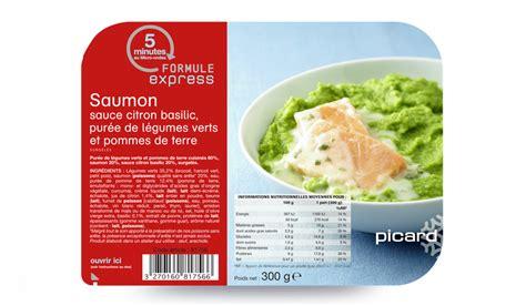 plat cuisiné picard saumon sauce citron basilic purée de légumes verts et pommes de terre surgelés les plats