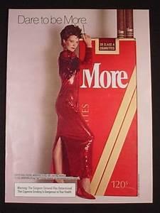 Magazine Ad for More Cigarettes, Woman in Red Dress, Dare ...