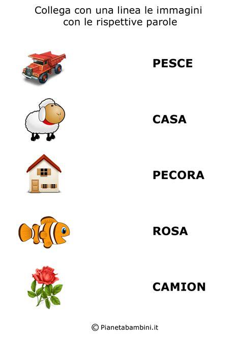 Carte contenenti parole bisillabe piane. Collega Parole e Immagini da Stampare per Bambini | PianetaBambini.it