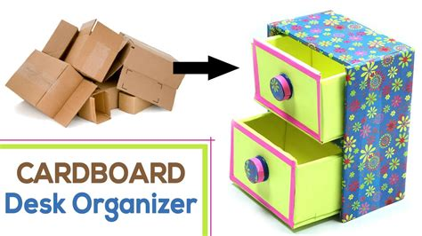 diy desk organizer  waste cardboard craft