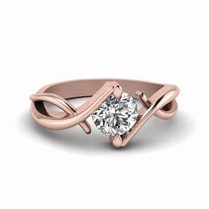 beautiful twist single diamond engagement ring in 18k rose With single diamond wedding ring