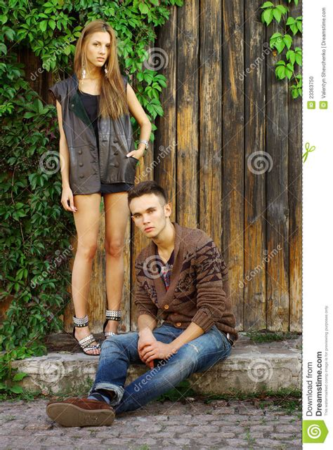 Fashion Shot Of A Trendy Boy And Girl Stock Photo - Image 23363750