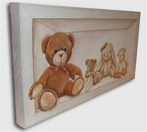 Tableau Pour Chambre Bébé : tableau peinture nounours ourson art pinterest ~ Teatrodelosmanantiales.com Idées de Décoration