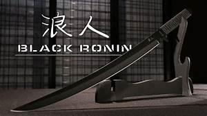 Black Ronin Samurai Sword with Shoulder Scabbard - YouTube  Black