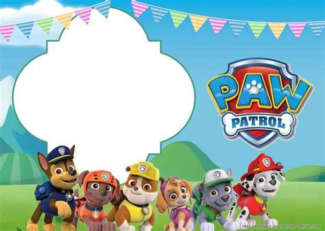 printable paw patrol birthday invitation template