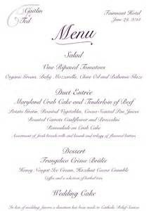 wedding menus custom wedding reception menu antonia designs