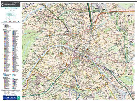 paris bus route maps  city street plan    image