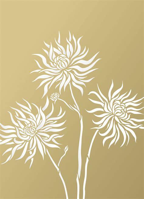 chrysanthemum flower stencil  henny donovan motif