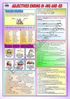 adjectives ed ing  images adjectives english