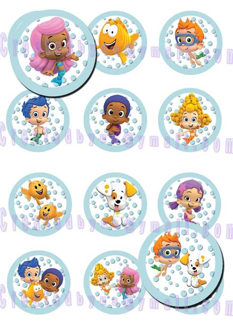 12 edible bubble guppies cupcake toppers cookie