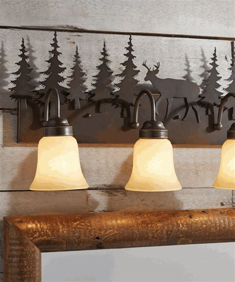 rustic vanity light fixtures cabin bathroom
