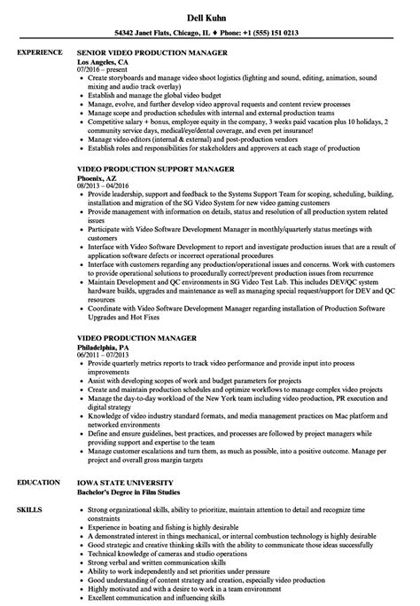 Production Resume by Production Manager Resume Sles Velvet