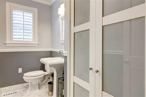 contemporary bathroom  historic home centerbeam