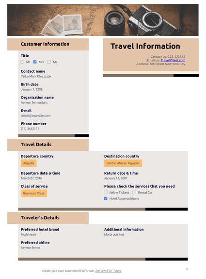 Travel Information TemplateTemplates JotForm