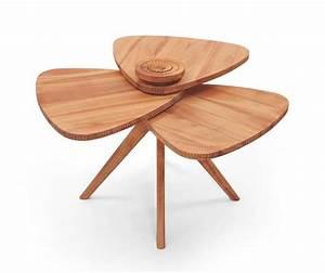 Modern Tables Blending Natural Wood and Flower Petal Shape