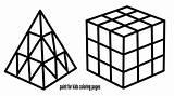 Cube Coloring Rubik Draw Drawing sketch template