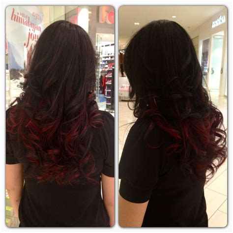 Dark Brown With Cherry Red Tips Hair Pinterest