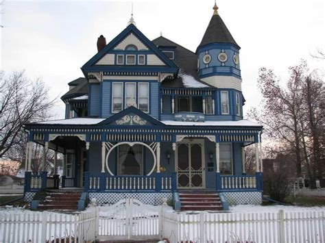 Victorian House With Blue Wall Exterior Color  Elegant