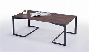 Table Basse Noire Design : table basse design noyer et pieds en m tal noir fuzz ~ Teatrodelosmanantiales.com Idées de Décoration