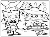 Coloring Pages Ufo Alien Printable Space Outer Cool sketch template