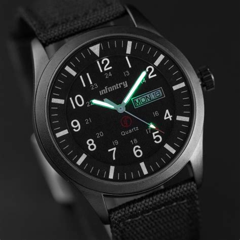 infantry herren quarz armbanduhr uhr schwarz datumsanzeige