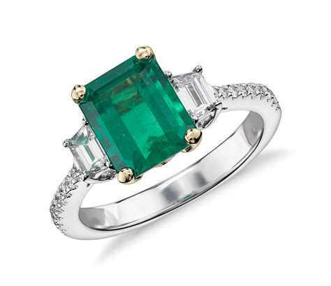 emerald and diamond ring in 18k white gold 2 ct center blue nile