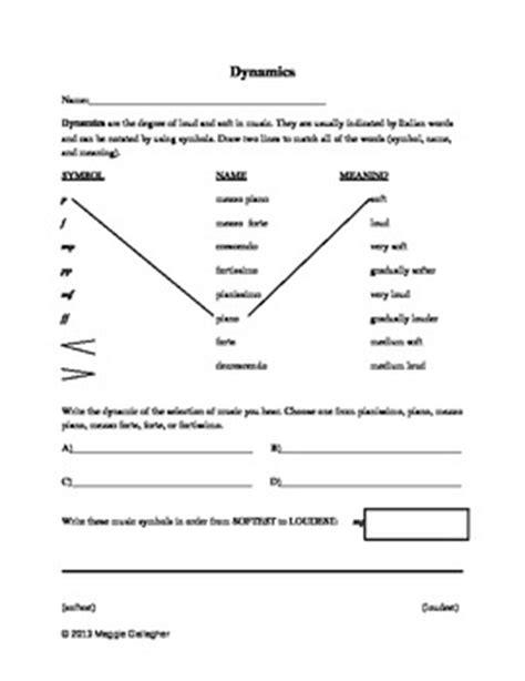 dynamics worksheet grades    maggies muses tpt