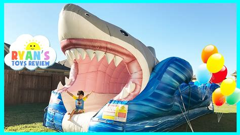 giant inflatable shark water   kids youtube