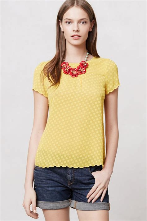 maeve blouse solid scalloped blouse anthropologie com solid scalloped