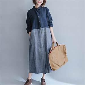 Women cotton linen dress patchwork long sleeve 2017 spring for Robe en lin grande taille