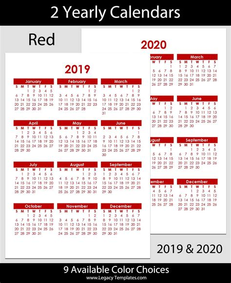 yearly calendar legacy templates