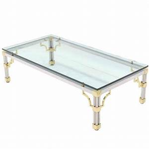 Heavy thick glass brass and chrome coffee table for sale for Heavy glass coffee tables