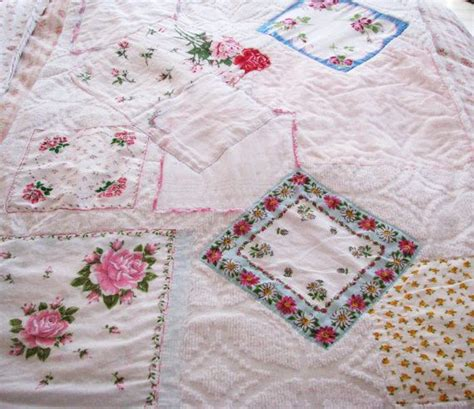 shabby chic blankets and throws vintage hanky chenille blanket lap throw handkerchief shabby chic cottage roses pinks new ooak
