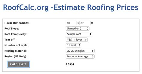 roofing calculator estimate roof replacement cost get
