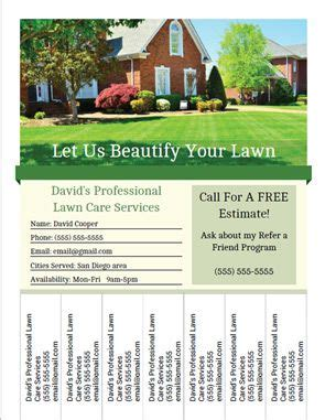 printable landscaping  lawn care business flyer