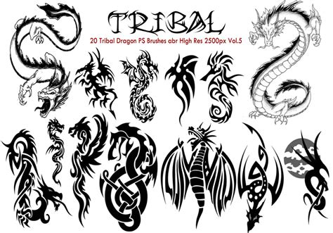 tribal dragon ps brushes vol  photoshop brushes