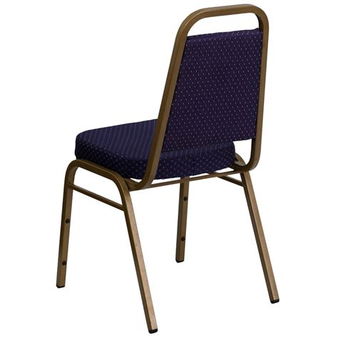 navy blue pattern trapezoid back banquet chair
