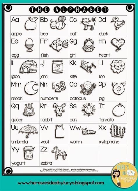 bw english alphabet chart  kids color
