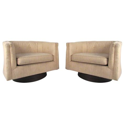 Milo Baughman Style Swivel Chairs by Pair Of Mid Century Milo Baughman Style Swivel Chairs For