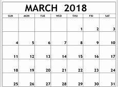 March 2018 Monthly Calendar Calendar Template Letter