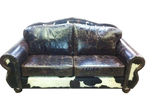 Cowhide Leather Sofa by Western Remington Sofa W Cowhide Leather Ebay