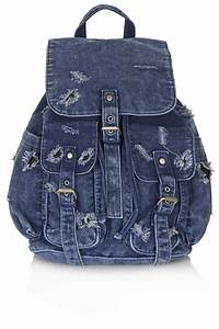 Topshop Ripped Denim Backpack in Blue | Lyst