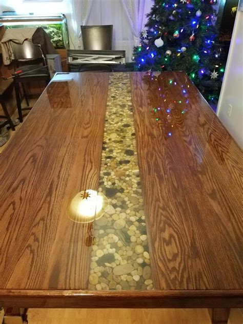 dining room kitchen river rock epoxy diy home  table