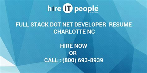 full stack dot net developer resume charlotte nc hire